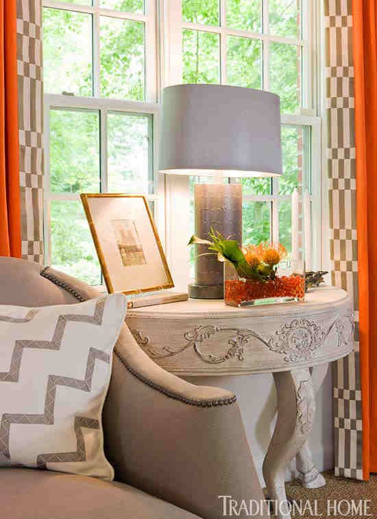 stunning vignette in a room by kelley proxmire drapery fabric is by