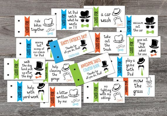 Fathers Day Coupon Book Gift for Dad DIY Coupon by ArtisintheHeart
