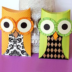 Owl Pillow Boxes Craft up owl treat boxes for Halloween with this printable template.