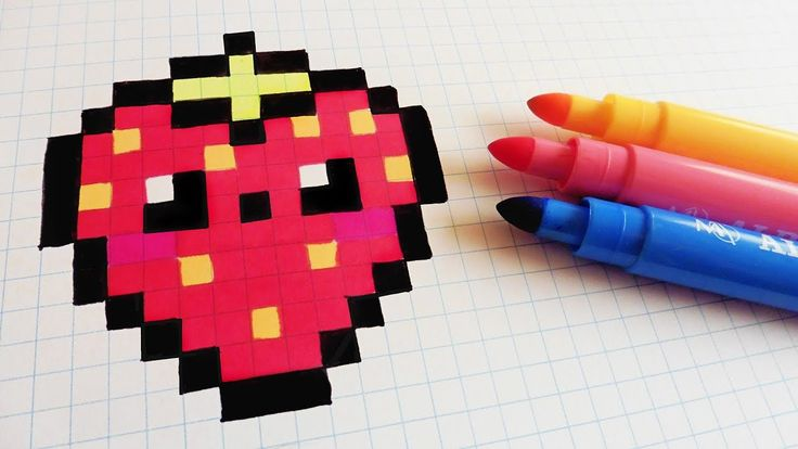 Handmade Pixel Art - How To Draw Kawaii Strawberry #pixelart