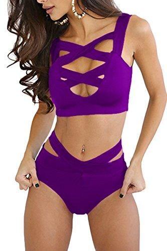 Prograce Women's Sexy Criss Cross High Waist Bandage 2PCS Bikini Set Swimsuit