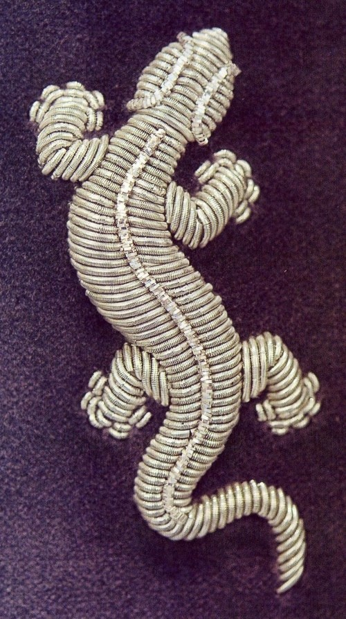 Couched silver bullion embroidered lizard