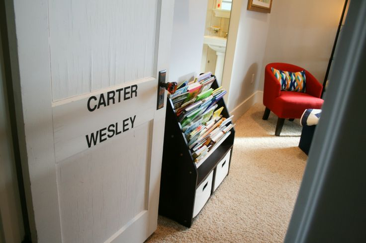 Love the idea of putting the names on the door of a shared room! #bigboyroom