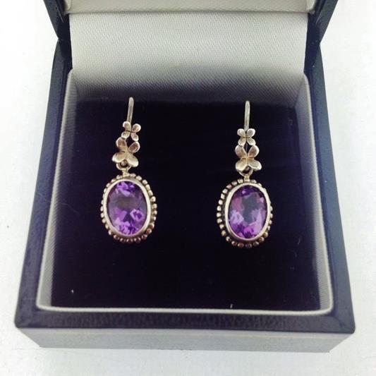 Beautiful handmade oxidised silver Rabinovich earrings with amethyst. For € 79.20. http://www.goldbergjuweliers.nl/shop/products-page/rabinovich/rabinovich-oorhangers-218-04-002-geoxideerd-zilver-amethyst