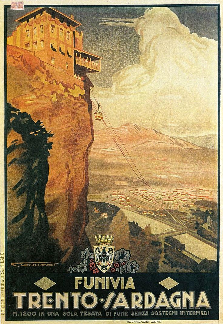 Manifesto pubblicitario (1925) - #Funivia Trento-Sardagna