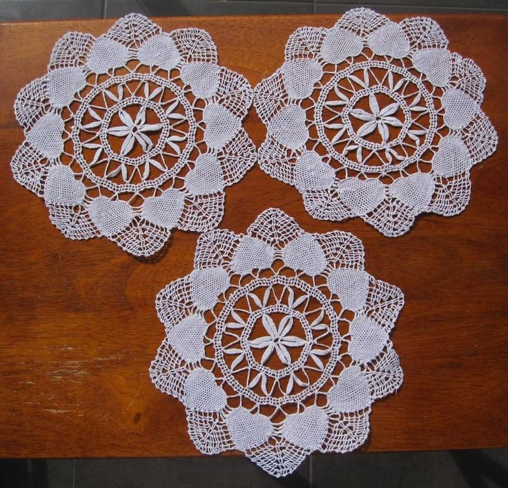 Set of Three Vintage Hand Made Bobbin Lace DOILIES 'Never Used'