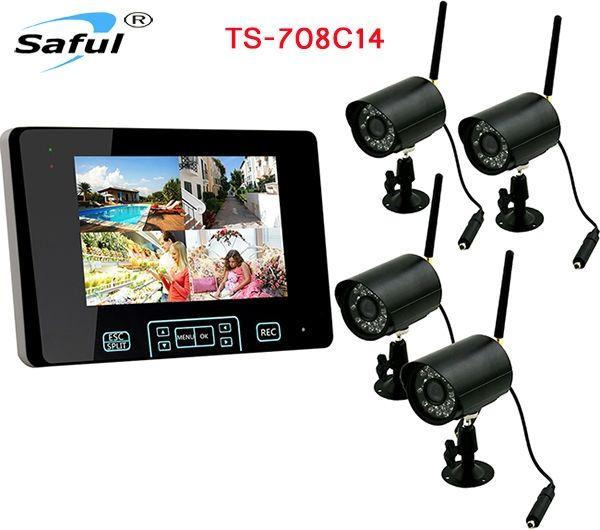 239.00$  Buy here - http://ali0u8.worldwells.pw/go.php?t=32411053447 - Total digital wireless, no privacy leak Wireless Video Surveillance System 4 Cameras+1 Monitor video camera system  waterproof