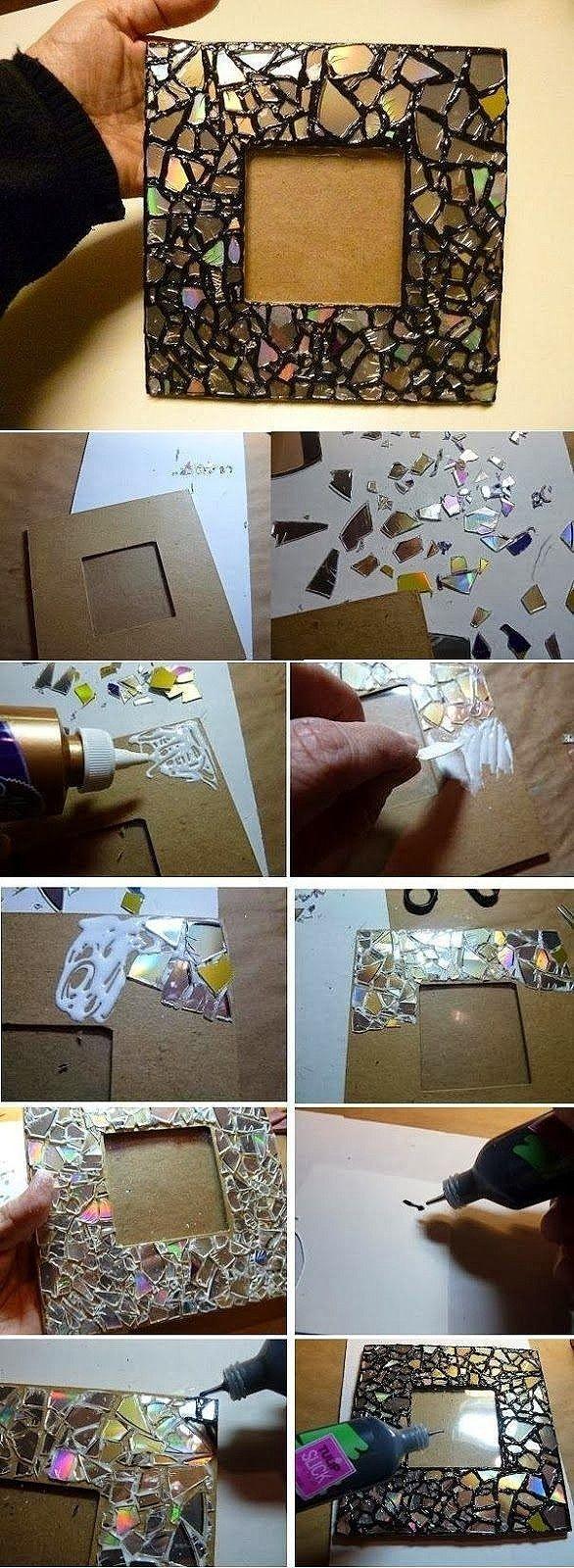手工DIY 哪怕是碎玻璃碎了的CD都可以做相框哦,你…