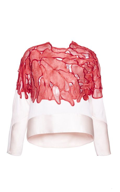 Embroidered Silk Curved Hem Shirt by Antonio Berardi for Preorder on Moda Operandi