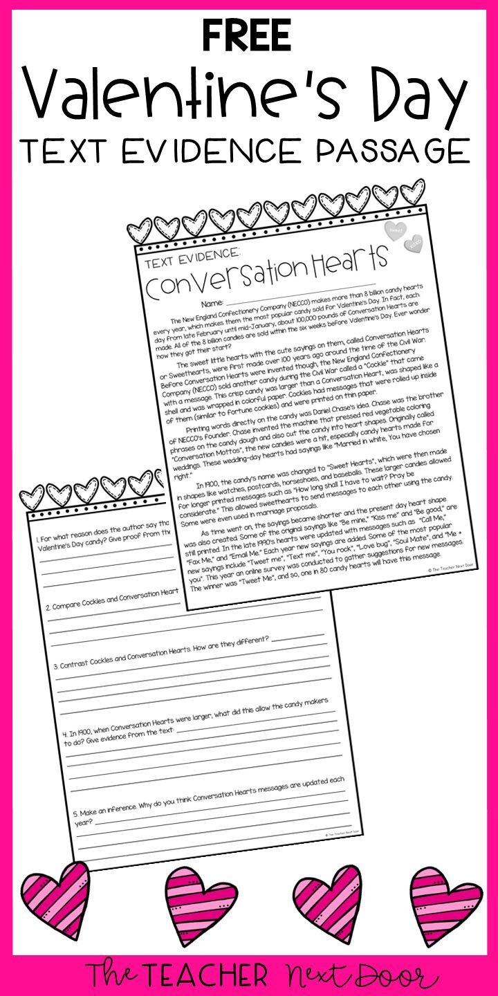 Free Valentine S Day Passage Text Evidence Print And Digital Distance Learning Text Evidence Valentine Reading Reading Worksheets