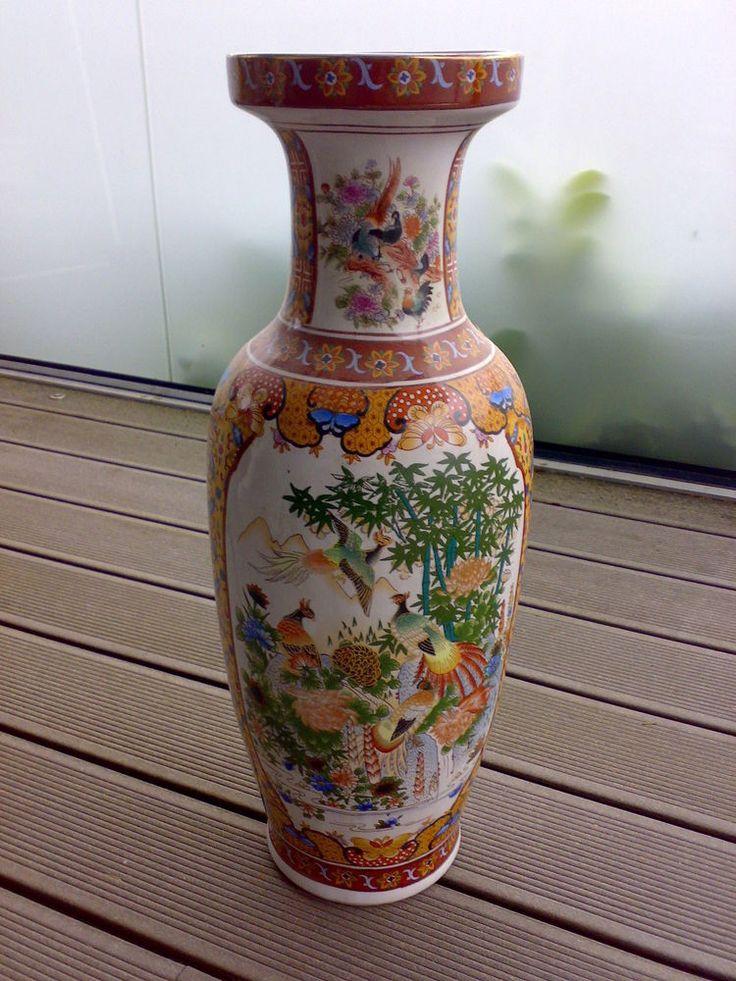 Chinesische Bodenvase Größe 62 cm Vase China HANDBEMALT sehr edel !!! in Antiquitäten & Kunst, Porzellan & Keramik, Porzellan | eBay