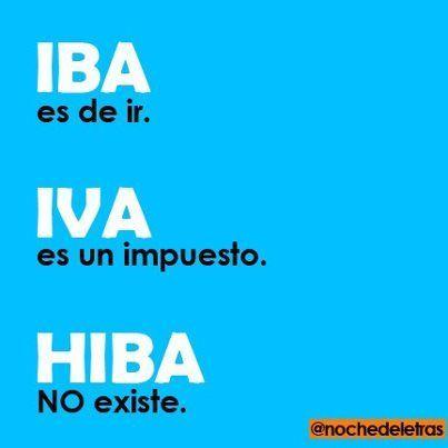 Iba, iva o hiba: Iba Iva, Con Ortografía, Is You, Palabras Claves, Spelling, Ortografía Es, Es Cultura, Writing, Español Ortografía