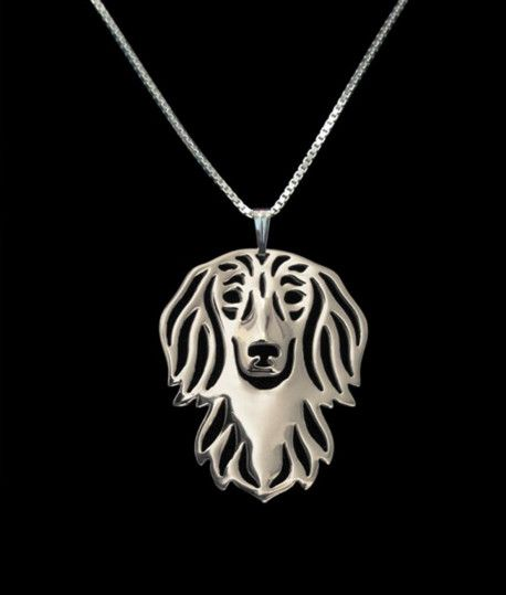 Long-Haired Dachshund - Chic Face Outline Necklace