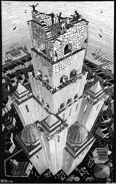 M.C. Escher - Tower of Babel, 1928 There is a 3 point perspective here, the two sides that are visible along with the top of the building to the ground. Being able to see the top all the way down causes a Bird's Eye View. There is deep space as you look down the building. The focal point of the piece is the building and that's the positive space, but the negative space is filled with the details that pull the picture together.