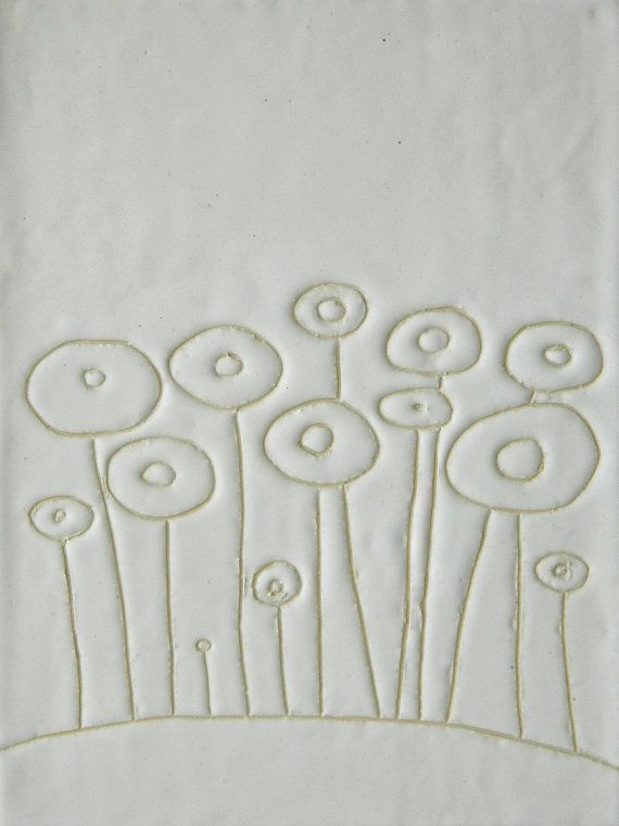 Flowers Ceramic Garden Wall Hanging Tile by Tina Schowalter.