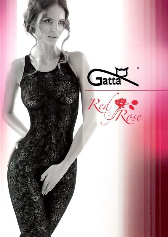 Bodystocking Gatta Red Rose 03 - siťované s květinovým vzorem