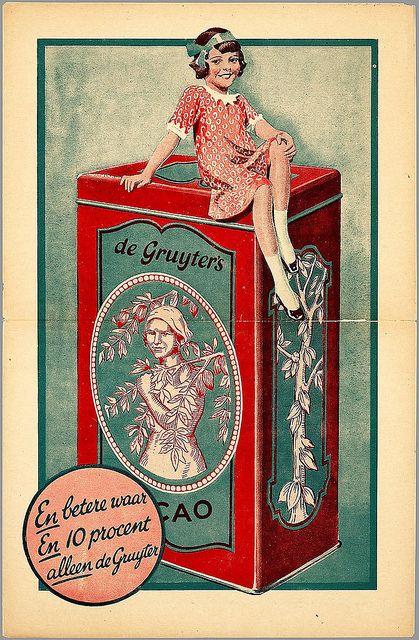 Vintage Ad - Daan Hoeksema, De Gruyter's Cacao, 1920s,