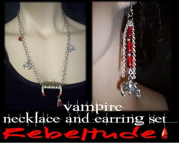 Gothic Vampire Fangs Bat Czech Red Teardrop Necklace by Rebeltude