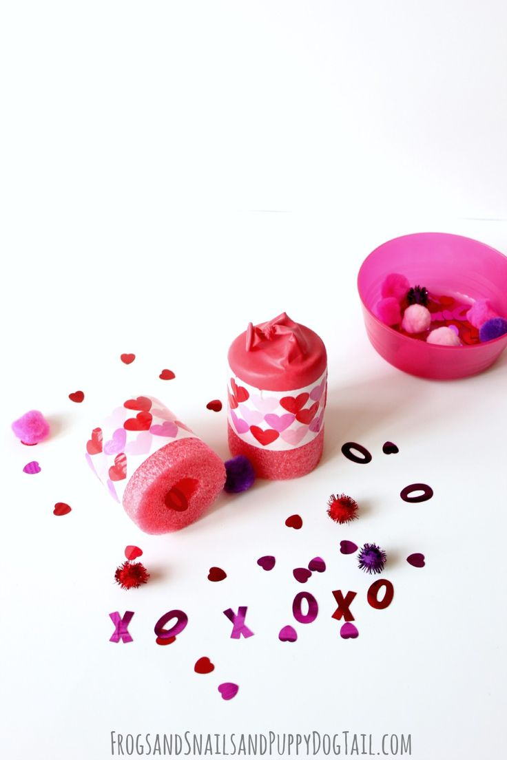 Pool noodle confetti popper valentines pools and pool noodles Valentine pool swimming lessons