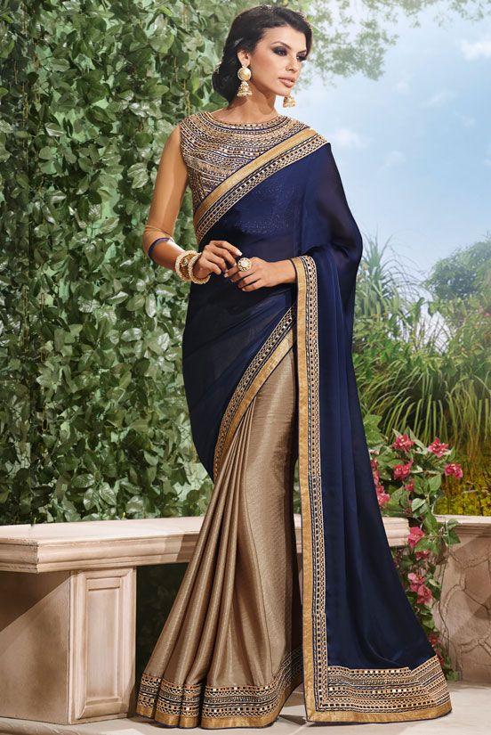 Mesmeric Metallic Beige and Navy Blue #Saree - Order online @ http://www.yourdesignerwear.com/mesmeric-metallic-beige-and-navy-blue-saree-p-52794.html