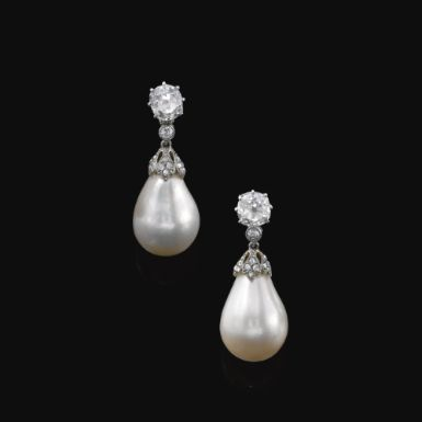 Pair of natural pearl and diamond pendent earrings, circa 1900 - Sotheby's