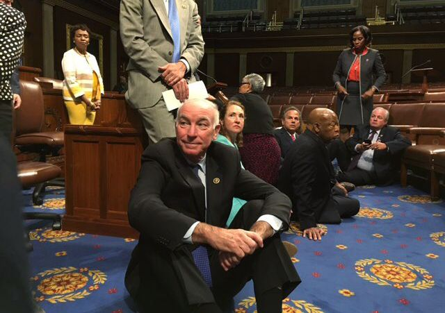 A photo shot and tweeted from the floor by U.S. House Rep. Rep. John Yarmuth shows Democratic members of the U.S. House of Representatives, including Rep. Joe Courtney (C) staging a sit-in on the House floor 'to demand action on common sense gun legislation' on Capitol Hill in Washington, United States, June 22, 2016.  REUTERS/ U.S. Rep.John Yarmuth/Handout via @AOL_Lifestyle Read more…