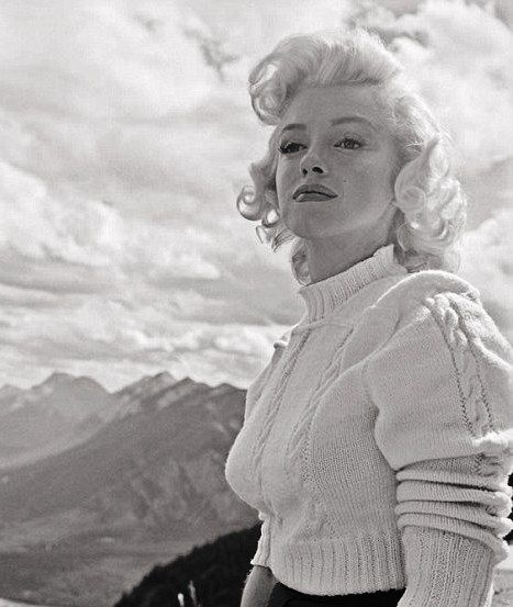 Marilyn Monroe in Banff, Canada for the filming of River of No Return, 1953. Photo by John Vachon