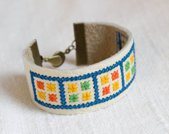 Hey, I found this really awesome Etsy listing at https://www.etsy.com/listing/179299233/leather-embroidered-bracelet-geometric