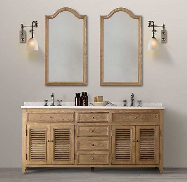 Master bath restoration hardware shutter double vanity for Restoration hardware bathroom cabinets