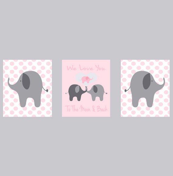 Nursery Art Elephant Girl Nursery Prints Polka by RizzleandRugee