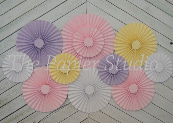 Pink, Lavender, Yellow and White Pastel  Set of 11 (ELEVEN)  paper fans/rosettes, decorations for Girl Baby Shower,Birthday Party or Wedding