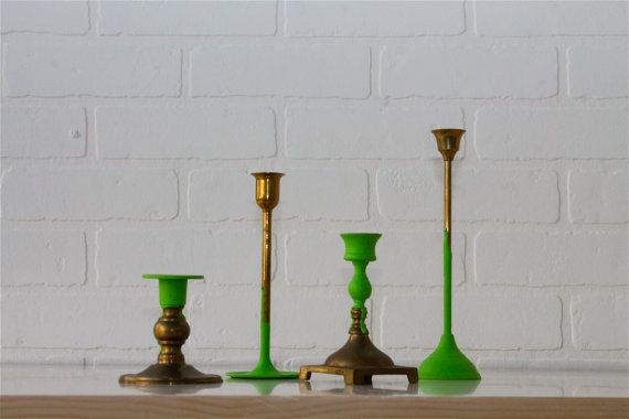 pantone 15-0146 green flash dipped antique brass candlesticks candlestick centerpiece table setting / centerpiece for dining table-DIY