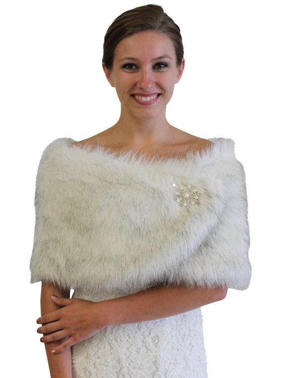 Black and White Faux Fox Fur Wrap faux fur Stole, faux fur Shrug, Bridal wrap, bridal shrug, bridal stole, #306NF-BLKWHI