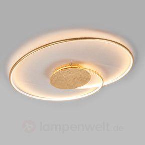 Schön geformte LED-Deckenlampe Joline, golden sicher & bequem online bestellen bei Lampenwelt.de.