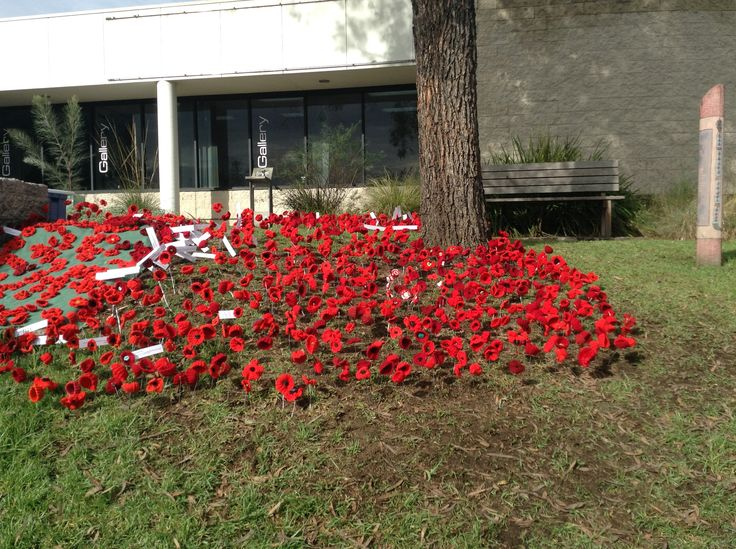 Crafted poppies at Bega Valley - volunteer co-creators, Bega Men's Shed made the wire stakes, school children and volunteers helped plant the poppies the day before Anzac Day 2015.