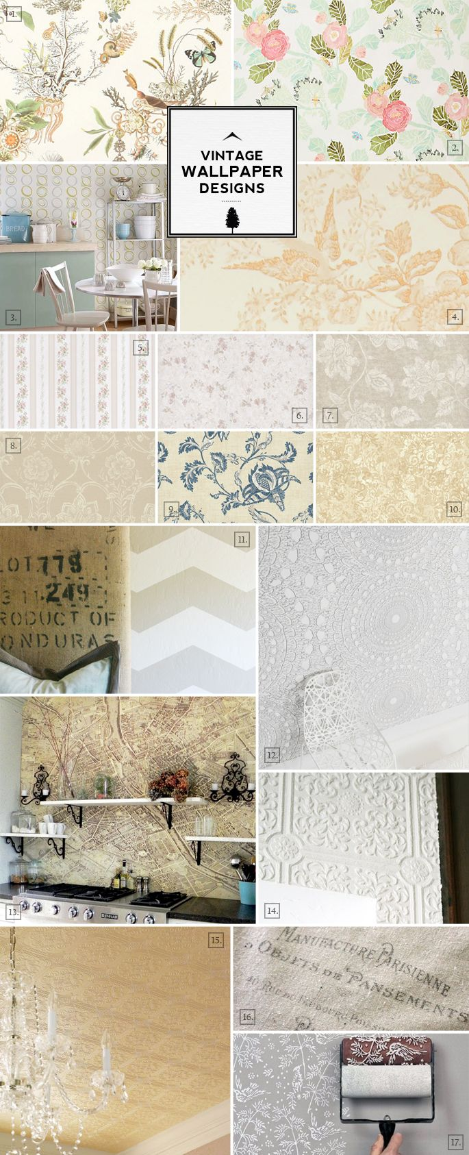 Vintage Wallpaper Patterns, Styles and Design Ideas