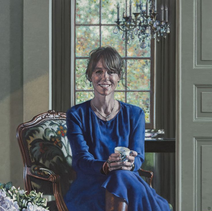 David Cobley 'The Blue Dress' painted portrait in oils of a seated lady