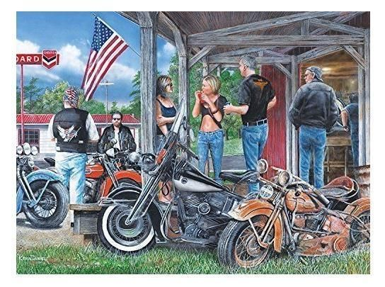 Rust in Peace Motorcycles Bikers Kevin Daniel Jigsaw Puzzle 1000 pc NIB #Cardinal