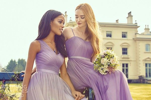 Kelsey damas de honor se levantó 2016 fósforo de la mezcla en colores pastel la dama de honor viste coincidentes glicinas lavanda púrpura malva lila vestido de tul romántica