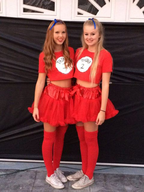 Cute DIY Costume for Best Friends•••Thing 1 and Thing 2