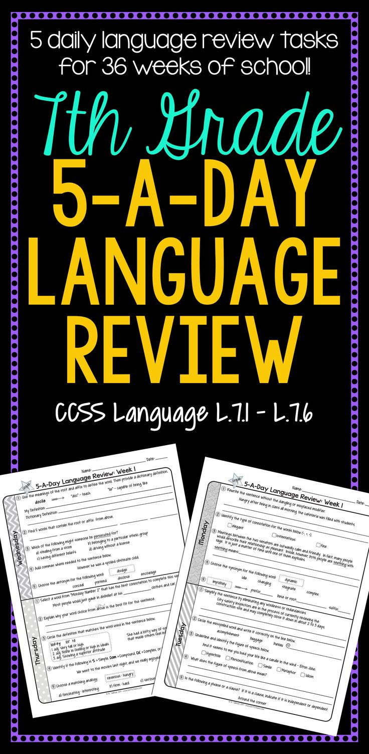 36 weeks of daily Common Core language review for 7th grade! 5-A-Day: 5 tasks a day, M-Th. CCSS L.7.1-L.7.6. Also available for 4th, 5th, and 6th grades! $