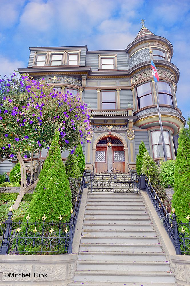 Upward View Of Victorian House In The Mission District, San Francisco By Mitchell Funk   www.mitchellfunk.com