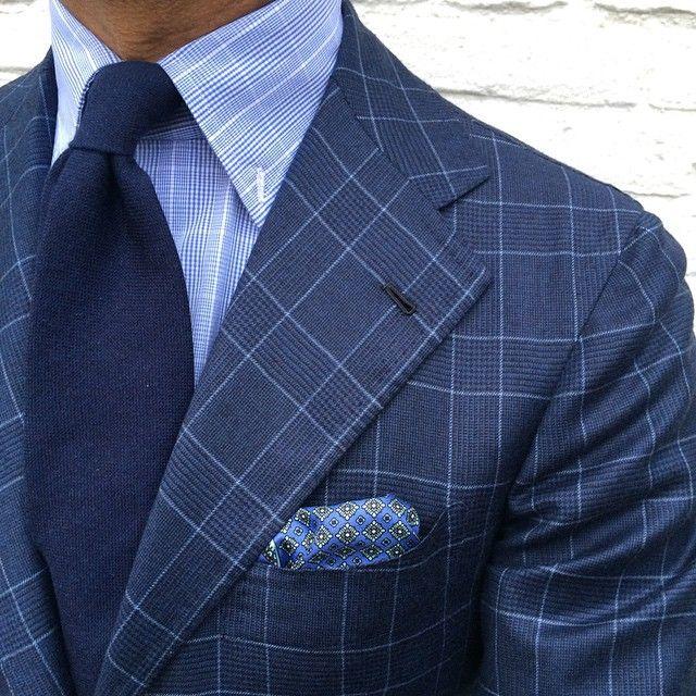 """ @rickycarlo wearing a Viola Milano ""Navy"" 7-fold cashmere tie & handrolled ""Sea Pattern"" pocket square… Suit: La Vera Sartoria Napoletana by @orazio_luciano - Shirt: Cesare..."