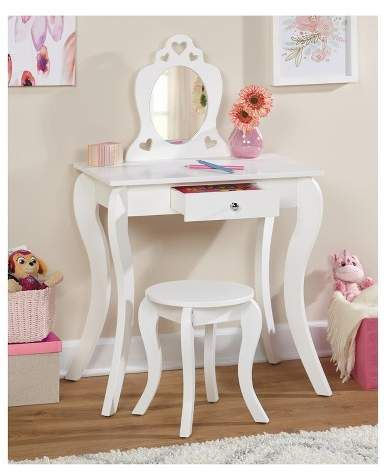 I need this for my daughters room! Alyssa Kids Vanity Set - White. #dressups #vanity #ad