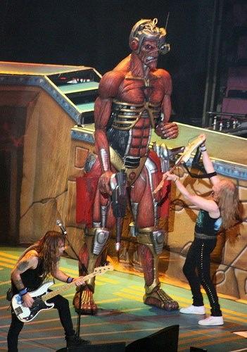 Iron Maiden on stage with Eddie!!!! #EDDIE #ironmaiden http://www.pinterest.com/TheHitman14/eddie-of-iron-maiden-fame/