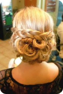 country wedding hair - Google Search--pretty updo with braid around horizontally with curls on the bottom side.