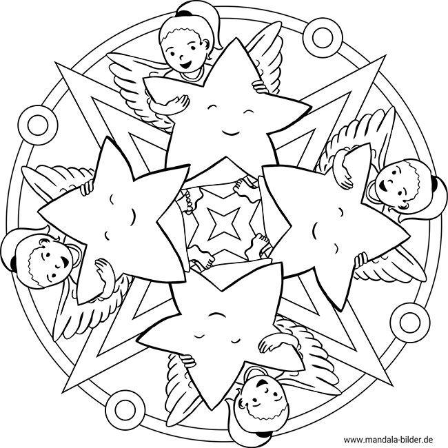 Weihnachtsmandala Mit Engel Und Sternen Ausdrucken Ausmalen Weihnachtsmandala Mandalas Kinder Ausmalen
