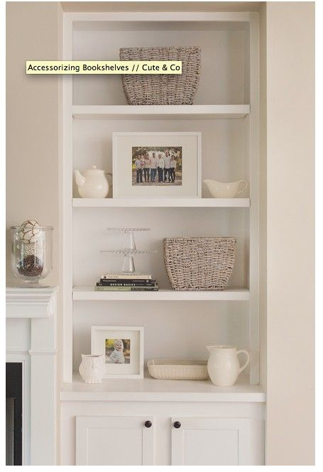 Built-in shelves and cupboard