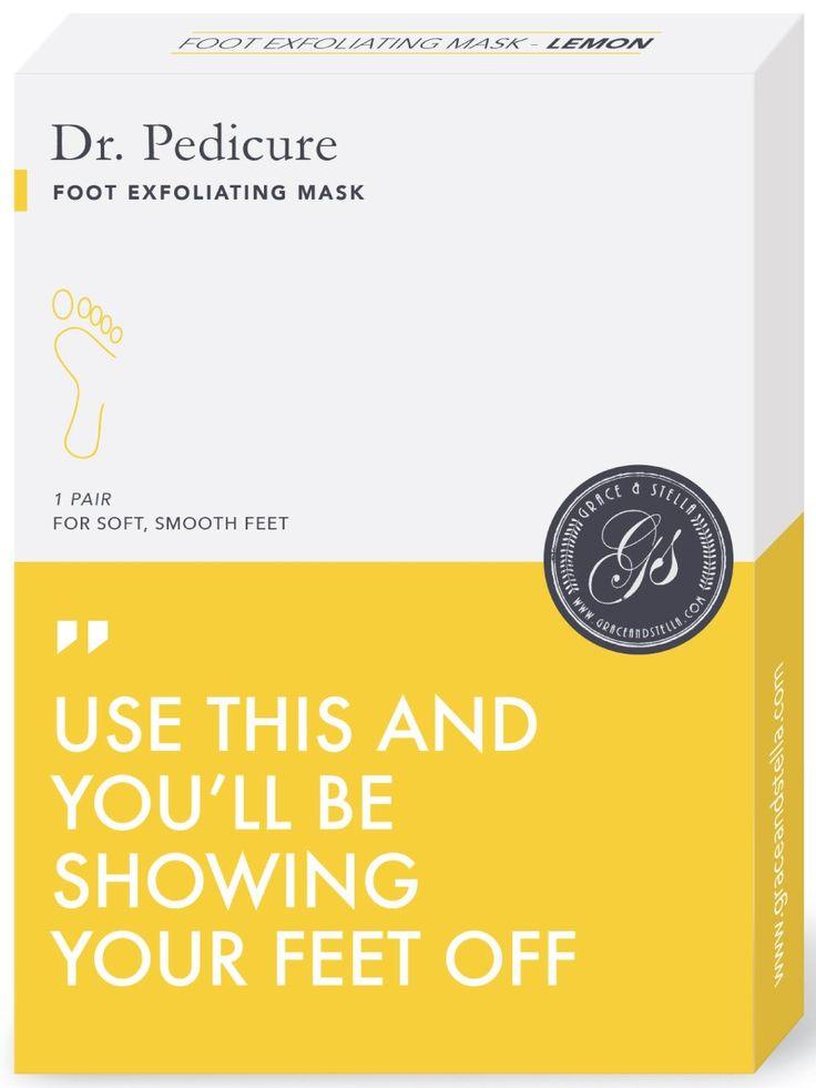 Grace & Stella Dr. Pedicure Foot Exfoliation Mask, Lemon (1 Pair)
