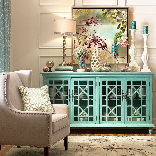 its bayberry blue textured finish is perfectly distressed making it look like an heirloom thats been passed down through generations - Distressed Living Room Ideas